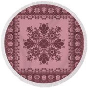 Vector Abstract Ethnic Shawl Floral Pattern Design For Backgroun Round Beach Towel