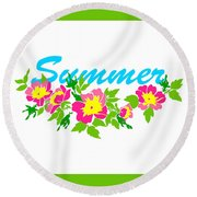 Vector Round Frame Isolated With Summer Flowers In Vintage Style Round Beach Towel