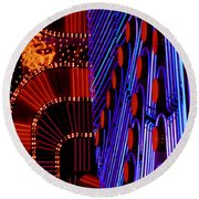 Vegas Lights Round Beach Towel