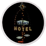 Vegas Motel  Round Beach Towel
