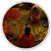 Vegetable Market In Malaysia Round Beach Towel