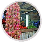 Vegetable Stand 2 Round Beach Towel