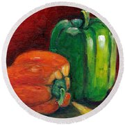 Vegetable Still Life Green And Orange Pepper Grace Venditti Montreal Art Round Beach Towel