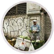 Vegetable Vendor Havana Cuba Round Beach Towel