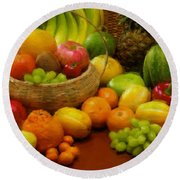 Vegetables And Fruits  Round Beach Towel