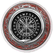 Vegvisir - A Silver Magic Viking Runic Compass On Red Leather  Round Beach Towel