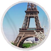 Eiffel Tower And Spring Round Beach Towel