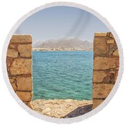 Veiw Of Lerapetra From Kales Fort Portrait Composition Round Beach Towel