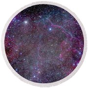 Vela Supernova Remnant In The Center Round Beach Towel