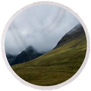 Velvet Hills In The Mist Round Beach Towel
