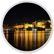 Velvety Reflections - Valletta Grand Harbour At Night Round Beach Towel