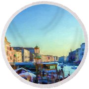 Venetian Afternoon I Round Beach Towel
