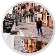 Venetian Baker, Reflection, Rain Puddle Round Beach Towel