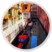 Venetian Canal Round Beach Towel by Jeff Kolker
