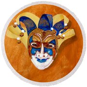 Venetian Mask 2 Round Beach Towel
