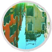 Venetian Mirror - Venice In Water Reflections Round Beach Towel