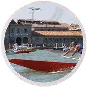 Venetian Rowing Racers Round Beach Towel