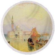Venetian Scene, 19th Century Round Beach Towel