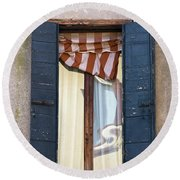 Venetian Windows Shutter Round Beach Towel