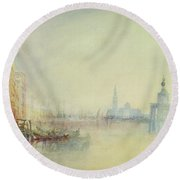 Venice - The Mouth Of The Grand Canal Round Beach Towel