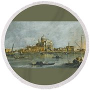 Venice. A View Of The Church Of San Giorgio Maggiore Round Beach Towel