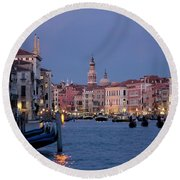 Venice Blue Hour 2 Round Beach Towel