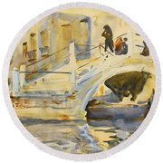 Venice. Bridge With Figures  Round Beach Towel