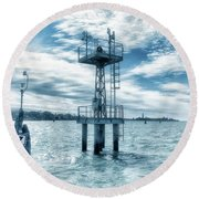 Venice - Buoy And Mooring In The Lagoon Round Beach Towel