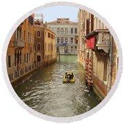 Venice Canal 2 Round Beach Towel