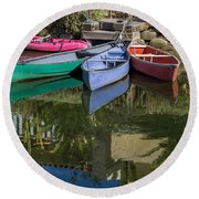 Venice Canal Reflections Round Beach Towel