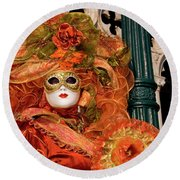 Venice Carnival Mask Italy Round Beach Towel