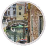 Venice Channels1  Round Beach Towel