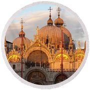 Venice Church Of St. Marks At Sunset Round Beach Towel