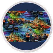 Venice Coming And Going Round Beach Towel
