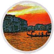 Venice Eventide Impasto Round Beach Towel