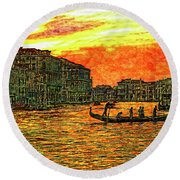 Venice Eventide Round Beach Towel