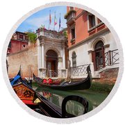 Venice From A Gondola Round Beach Towel