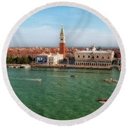 Venice Grand Canal And St Mark's Campanile Round Beach Towel