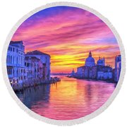 Venice Grand Canal At Sunset Round Beach Towel