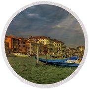 Venice Grand Canal God Sun Rays Round Beach Towel