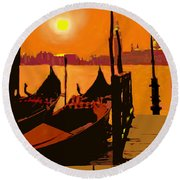 Venice In Orange Round Beach Towel