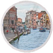 Venice In Pastel  Round Beach Towel