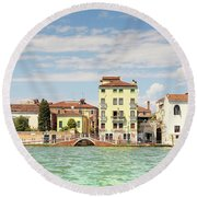 Venice In Summer  Round Beach Towel