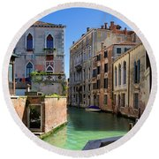 Venice Italy Canal And Lovely Old Houses Round Beach Towel