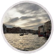 Venice Italy - Pearly Skies On The Grand Canal Round Beach Towel