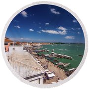 Venice Lagoon Panorama - Bird View Round Beach Towel