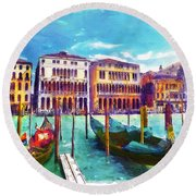 Venice Round Beach Towel