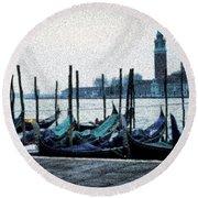 Venice Morning Round Beach Towel