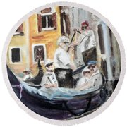 Venice Party Round Beach Towel