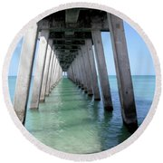 Venice Pier - Florida Round Beach Towel